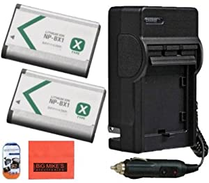 Sony CyberShot DSC-RX100 DSCRX100 DSC-HX300 DSC-WX300 HDR-AS10 HDR-AS15 Digital Camera Battery And Charger Kit Includes Qty 2 NP-BX1 Replacement Batteries + Battery Charger + LCD Screen Protectors + Micro Fiber Cleaning Cloth