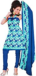 Majaajan Women's Cotton Self Print Unstitched Salwar Suit Dress Material (BNSL0662BLU, Blue, Freesize)