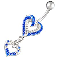 "swarovski belly button rings unique heart dangle cute pierce dangling sexy 14Gauge (1.6mm), 3/8"" Inch (10mm) Clear,Sapphire Crystal Ferido navel dangly bar AFYD - Pierced Body Piercing Jewelry from bodyjewellery"