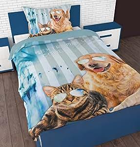 parure linge de lit housse de couette 1 taie d oreiller chien et chat cool pets. Black Bedroom Furniture Sets. Home Design Ideas