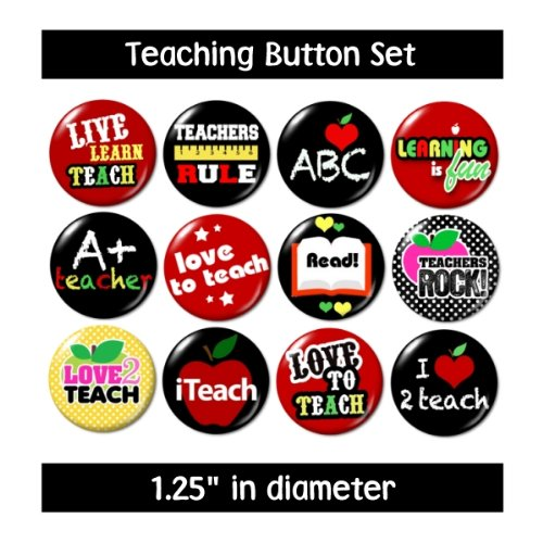 I LOVE TEACHING BUTTONS pins badges gifts for teachers reading learning school new
