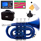 Mendini MPT-BL Blue Lacquered B Flat Pocket Trumpet w/ Case, Stand, Pocketbook, & Chromatic Tuner with Metronome