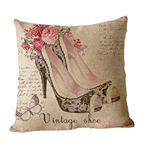 ilkin Decorative ilkin Custom Personalized Vintage Style Cushion Cover 100% cotton blend linen throw pillow cases - 18 x 18