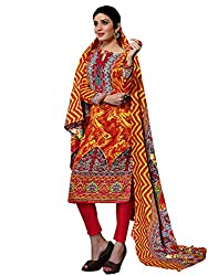 Red & Yellow Colour Pashmina Printed Unstitched Dress Material