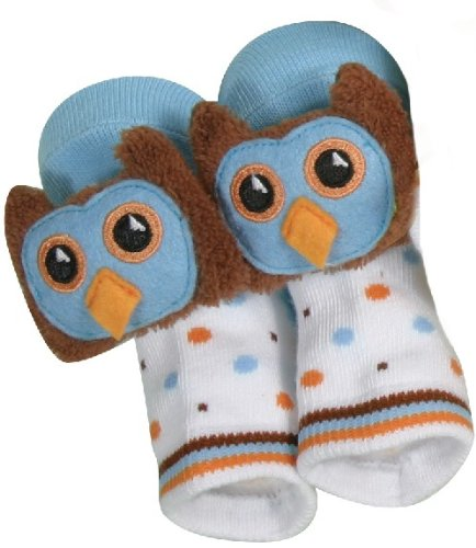 Rattle Socks Owl Blue by Stephan Baby