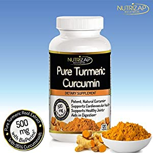 Premium Turmeric Curcumin Extract Capsules By Nutrizap : Includes BioPerine For Improved Potency : Supports Knee and Joint Pain Relief : 500mg Per Serving : 120 Capsules : Made in USA