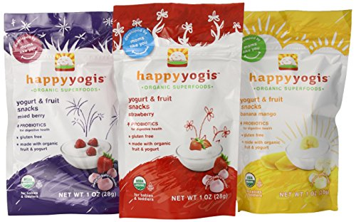 Organic Baby Food Happy Yogis Yogurt Snacks-Banana Mango, Mixed Berry, and Strawberry- 1 oz Packs, 3-Count
