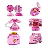 WayIn® 6 paquetes Bonito Mini Inicio Aparato de cocina Set, eléctricos Juegos de construcción - Diseñado para niños pequeños Chicas Dollhouse Dormitorio (rosado)