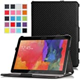 Moko Samsung Galaxy Tab PRO 10.1 Case - Slim-Fit Multi-angle Folio Cover Case for Galaxy TabPRO 10.1 Android Tablet, Carbon Fiber BLACK (With Smart Cover Auto Wake / Sleep. WILL NOT Fit Samsung Galaxy Tab 4 10.1)