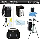Must Have Accessory Kit For Sony HDR-XR260V, HDR-TD20V, HDR-CX190, HDR-CX210,HDRCX330/B, HDRPJ810/B, FDR-AX100/B, HDRCX240/B, FDR-AX100/B High Definition Handycam Camcorder Includes Replacement (2300Mah) NP-FV70 Battery + Charger + Case + Tripod + More