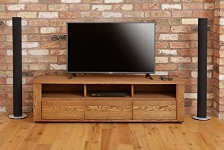 Baumhaus Olten Oak Widescreen TV Cabinet with Three Drawers