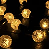 M&T Tech 30 LED Round Ball Solar Powered Globe String Lights For Outdoor Party Garden Patio Lawn Fence pergolas Christmas-Warm White