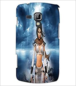 PrintDhaba Warrior Girl D-4919 Back Case Cover for SAMSUNG GALAXY S DUOS S7562 (Multi-Coloured)
