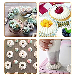 Russian Piping Tips Baking Kits Piping Nozzles Sultan Ring Cookies Mold Kits Cake Decorating Supplies for Kitchen Gift (4 pack) (Color: Gray)