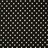 Black 100% Poplin Cotton Fabric with White Polka Dots (Per Metre)