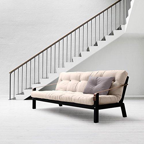 KARUP-Kommune-Poetry-Sofa-Bett-Futon-bestehend-aus-Natur-auf-Struktur-aus-Holz-bemalt-schwarz