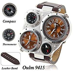 Oulm Multi-Function Watch For Men with Dual Movt Numerals Indicate Time Dial Brown Genuine Leather