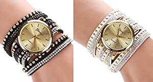Women Crystal Rivet Bracelet Quartz Braided Winding Wrap Wrist Watch white&black