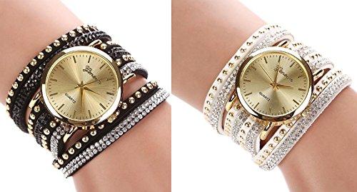 New Women Crystal Rivet Bracelet Quartz Braided Winding Wrap Wrist Watch white&black