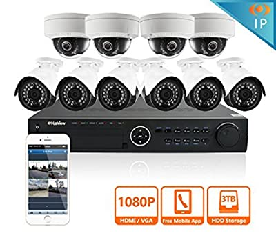 LaView 4 1080P IP Camera Security System, 8 CH 1080P IP PoE NVR w/2TB HDD and 4 2MP Bullet Surveillance Camera