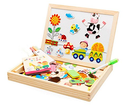 Baby Toys Multifunctional Writing Board Magnetic Animal Puzzle Wooden Toy