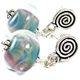 Sterling Silver Lampwork Glass Drop Earrings Blue Cloud