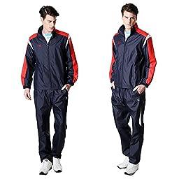 Fuerza Mens Built-In Hood Lightweight Mesh Track Jacket Pants Woven Tracksuit (Medium, Navy)