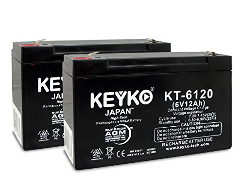 Gyneco 138 Thermal Cautery System Replacement Rechargeable Battery SLA 6V 12Ah Genuine KEYKO ® (W/F1 Terminal) - 2 Pack (Thermal Cautery compare prices)