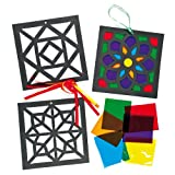 Geometric Stained Glass Decorations for Children to Make and Hang (Pack of 6)