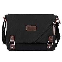 ibagbar Canvas Messenger Bag Shoulder Bag Laptop Bag Computer Bag Satchel Bag Bookbag School Bag Working Bag for Men and Women Black Small