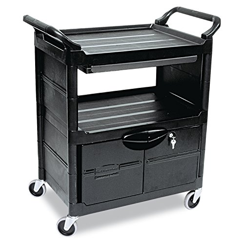 Rubbermaid Utility Cart with Locking Doors, 2-Shelf, 200 Pounds, 33-5/8 x 18-5/8 x 37-3/4, Black (345700BLA) Rubbermaid 2 Door Cabinet