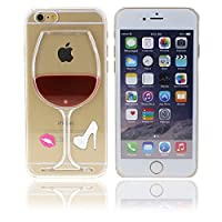 MANBO For iPhone 6 Case,Red Wine Glass Case for iPhone 6,Liquid Case for iPhone 6,Fashion Creative 3d Design Flowing Liquid Red Wine Glass Red Lip High Heels Clear Back Hard Case Cover For iPhone 6 4.7 inch by MANB
