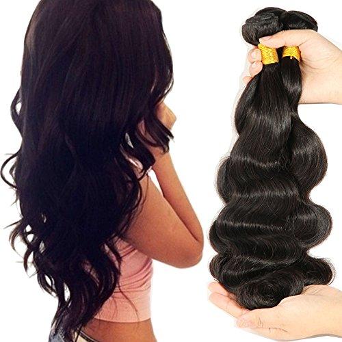 [Beautyplus Hair Braids Virgin Hair Braiding Human Hair Weaving Weft Extensions 3 Bundles Body Wave Natural Black(12 14 16] (Wild Curl Black Wig)