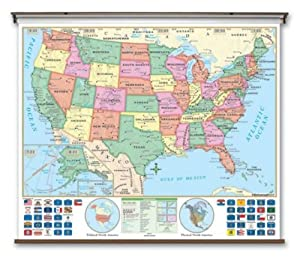 US Essential Classroom Wall Map on Roller w/ Backboard