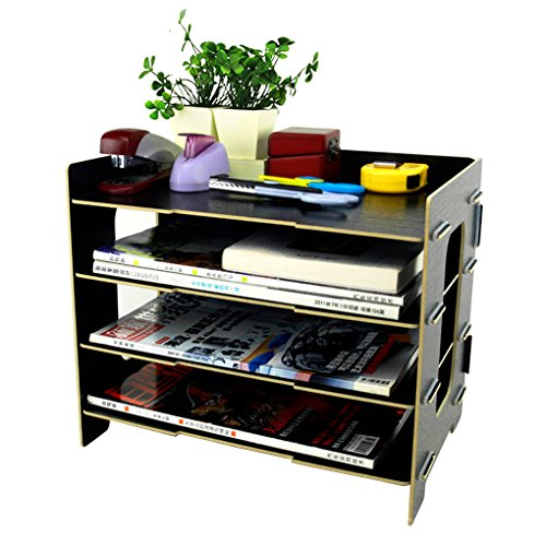 clobeau wooden diy 4 tier creative desktop file rack paper document magazine holder sorter. Black Bedroom Furniture Sets. Home Design Ideas