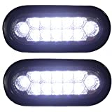 """Pair Clear 6"""" Oval Sealed 12 DIODE LED BACK-UP REVERSE FOG WHITE Light Kit with Light, Grommet and Plug for Truck,Trailer (Turn, Stop, and Tail Light) Features chrome reflector inside the lens. STRONG LIGHT!!!"""
