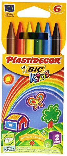 BIC 875773 Pack 6 Plastidecor, Wachsmalstifte