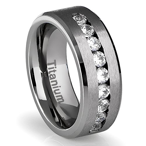 8mm mens titanium ring wedding band with flat brushed top