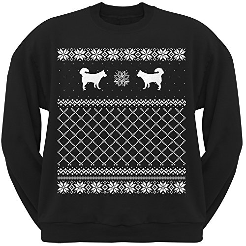 Alaskan Husky Black Adult Ugly Christmas Sweater Crew Neck Sweatshirt - Large