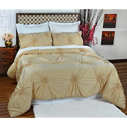 Stunning Empress Silk Fiona Comforter Set King Sahara Gold