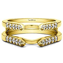 buy 0.5 Ct. Diamonds Cathedral Style Round Stone Ring Guard In 10K Yellow Gold (1/2 Ct. Twt.)