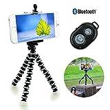 スマホ カメラ用 三脚ホルダー& スマートフォン用 カメラリモコン iphone用三脚ホルダー デジカメスタンド IOS Android通用ワイヤレス リモートシャッター[2点セット]