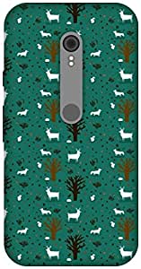 The Racoon Grip TREES AND DEER hard plastic printed back case / cover for Motorola Moto G Turbo