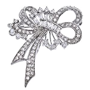 C.Z. Diamond Silver Forget Me Not Ribbon Bow Pin Brooch (Nice Holiday Gift, Special Sale)