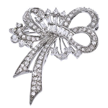 C.Z. Diamond Silver Forget Me Not Ribbon Bow Pin Brooch (Nice Holiday Gift, Special Black Firday Sale)