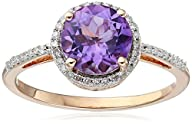 10K Rose Gold Amethyst Round with Whi…