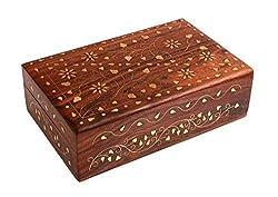 ITOS365 Handmade Wooden Jewellery Box for Women Jewel Organizer Flower Décor