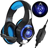 Gaming Headset for PS4 Xbox One PC, Beexcellent 2017 New Noise Reduction Crystal Clarity 3.5 mm Professional Game Headphones with Microphone for Laptop Tablet Mac (Color: Blue)