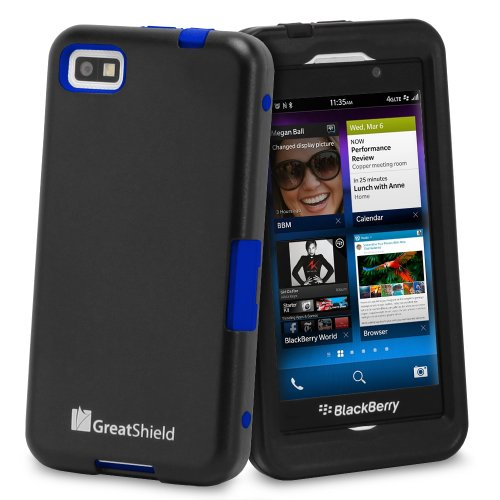 Buy  GreatShield TUFF Series Dual Layer Hybrid Kickstand Case with Swivel Belt-Clip and Holster for Blackberry Z10 (Black & Blue)