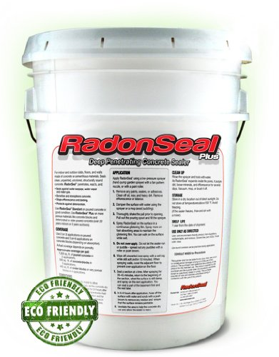 RadonSeal® Plus Deep-Penetrating Concrete Sealer (5-gal) - Basement Waterproofing & Radon Mitigation In One! | Seals Concrete Permanently Against Basement Moisture picture